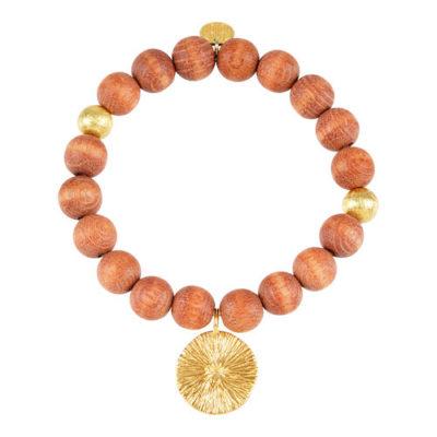 Stretch Holz Armband braun Silber goldplattiert Sonnen-Amulett